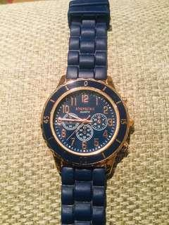 Aeropostale Women's Rose Gold Tone and Navy Watch