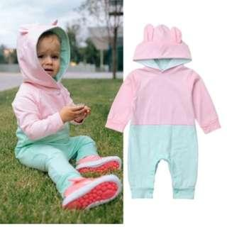 Newborn Toddler Baby Girl / Boy Bunny Ear Hooded Romper Jumpsuit Bodysuit Pastel Colourblock Outfit