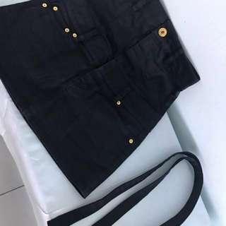 🚚 日本真品moussy黑色金扣高腰裙/可拆式吊帶裙 1號 9成新