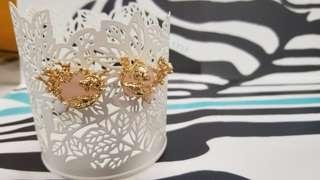 Les nereides粉紅晶石珊瑚耳環