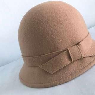 🚚 ZARA 100%羊毛 駝色/奶茶色氣質小淑女禮帽 56cm