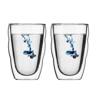 Stunning double walled glasses by Bodum (2 pc set)