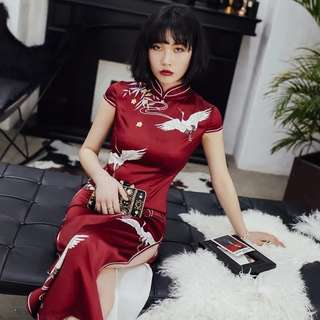 7f141953a Daily cheongsam female retro red cheongsam spring long dress Chinese style  fashion slim elegant thin