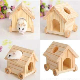 🚚 Handmade small animal hamster wooden wheel house cage toy