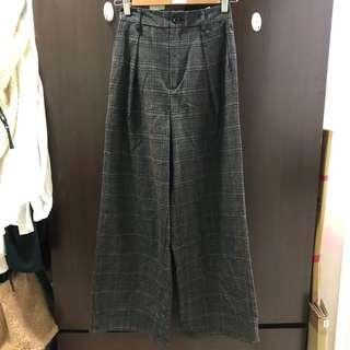 GU 格紋寬褲