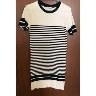 Zara TRF Black and White Stripes Dress
