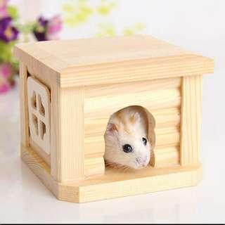 Cute natural wodden house cabin for hamsters - cage accessory toy
