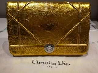 06df11335431  v rare  Dior diorama Cannage Clutch bag gold distressed