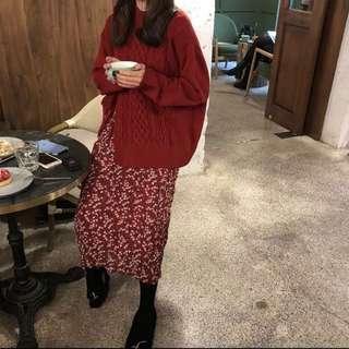 全新-緞帶紅毛衣