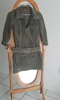 Army green corduroy zip up mini dress