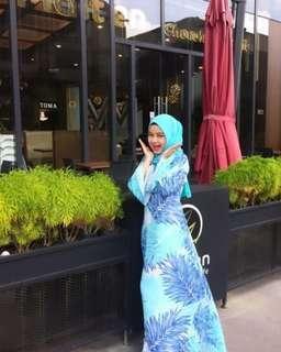#GayaRaya (Raya Sales) Blue Palm Chiffon Maxi Dress