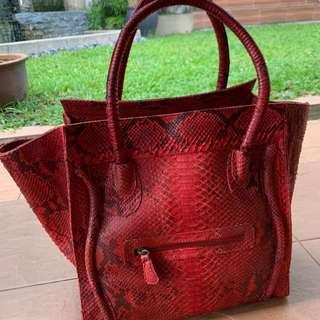 Handbag genuine snake skin