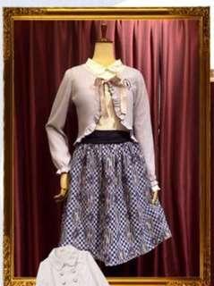 Axes Femme2019福袋藍色雪紡格仔半裙
