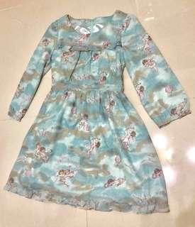 日系藍色雪紡天使裙