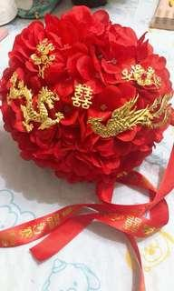 婚後物資 全新龍鳳繡球花欄門花球 配雙囍絲帶