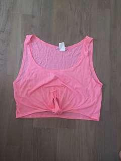 Size xxs pink tie up crop top excellent condition