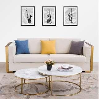 簡約茶几北歐現代大小戶型客廳圓形茶几金屬大理石茶几組合 大理石幾面 不銹鋼框架  鍍金拉絲工藝 簡約的設計風格