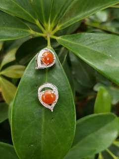 天然正红缅甸翡翠耳环S925银镶