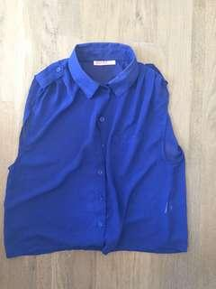 Size small blue button up collared shirt