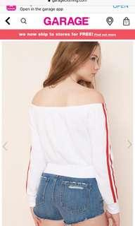 White off the shoulder striped sweater