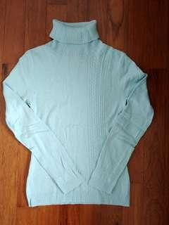 Light Blue Cashmere Turtleneck Top