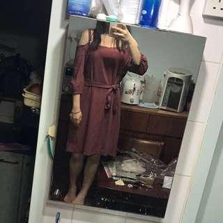 磚紅色露膊及膝裙