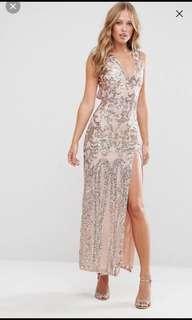 100% NEW Elegant Sequin Gold Cocktail Dress