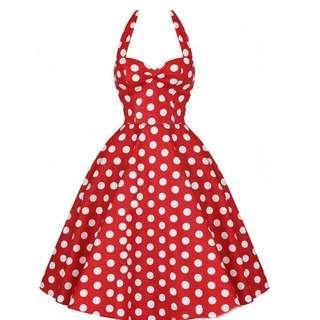 VINTAGE RETRO RED POLKA DOTS SEXY HALTER DRESS ❤️ LAST PRICE ALREADY