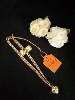 Rantai tangan rt lipan hollow love gantung2 emas 916