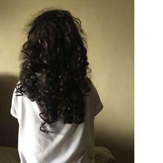 Black long curly hair wig with strap and scalp
