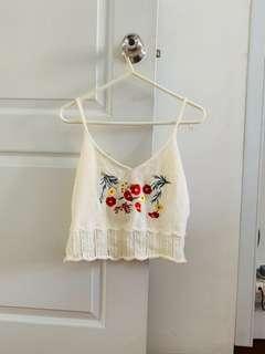 🚚 Knitted Floral Beach Crop Sleevless Top