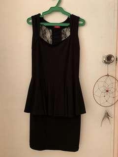 Lace Back Black Peplum Dress