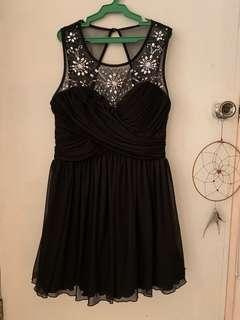 Black dress with crystal beadings