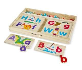 *In Stock* BN Melissa & Doug Wooden ABC Alphabet Picture Boards - Educational Toy With 13 Double-Sided Boards and 52 Letters