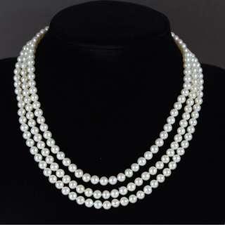 白色淡水珍珠配 925純銀鑲白鋯石扣頸鏈