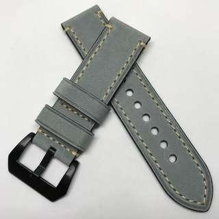 🚚 Sale : Premium Genuine Leather 24mm Watch Strap Grey Colour
