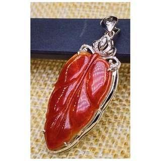 紅翡樹葉吊墜 (A 級翡翠,包大陸證書)(Red jade pendant)