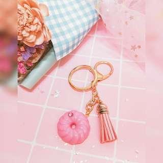 超美粉色法藍奇鑰匙圈手作流蘇可愛包包掛飾鉛筆盒生日禮物夢幻
