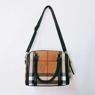 🔥9.5成新🔥蘇格蘭紋 格子波士頓手提包
