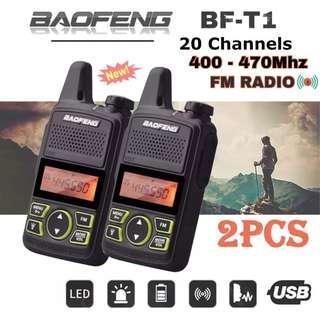 1 PAIR (2 Sets) BAOFENG T1 Mini Small Walkie Talkie Wireless Programmable 2-Way Radios LED Light FM Radio 2PCS EU 2-pin Plug EXPORT SET