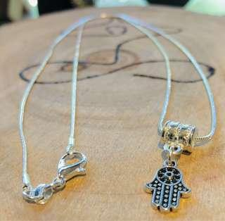silver small FATIMA/HAMSA HAND pendant and 925 sterling silver necklace chain