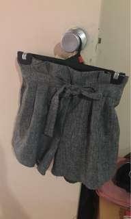 Grey paperbag shorts