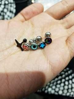 粗針鋼耳環