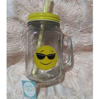 Emoji Mason Mugs with Straws