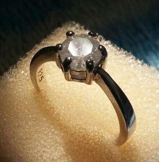 Untreated 0.86ct(5.9x3.74mm) ice diamond 925ring