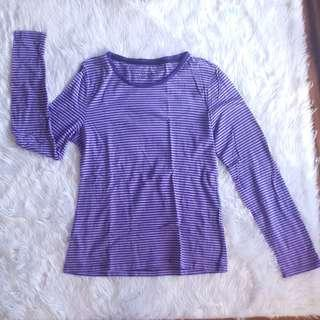 Giordano Long Sleeves Violet Stripe Winter Sprint Shirt