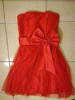 #MMAR18 Bridesmaid Red Tube Dress