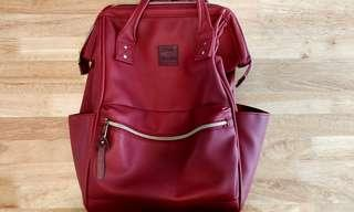 Anello Red Faux Leather Backpack