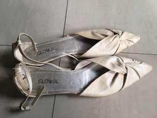 專櫃Glow JL原價1280異國風繫帶尖頭平底鞋 H&M, Zara, mango, asos可參考