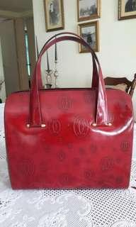 Vintage , Cartier Paris burgundy handbag